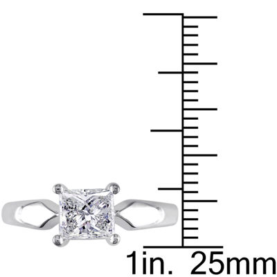 Womens 1 CT. T.W. Genuine White Diamond 14K Gold Solitaire Engagement Ring
