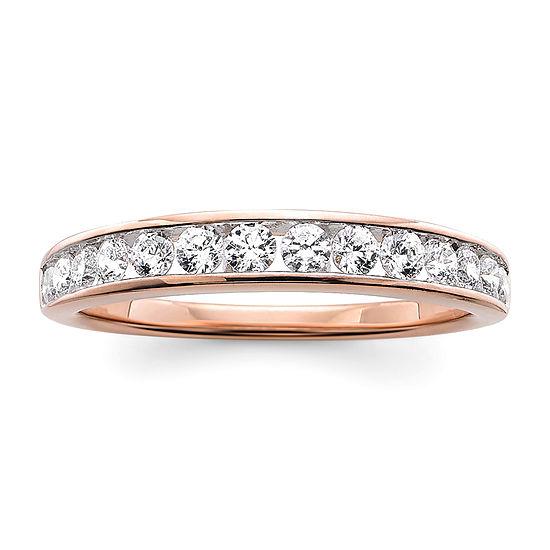 T W Genuines White Diamond 10k Rose Gold Wedding Band
