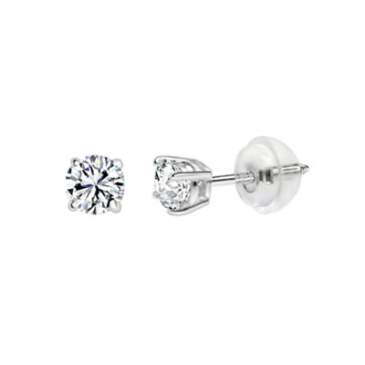 14K White Gold 3.5mm Round Stud Earrings featuring Swarovski Zirconia