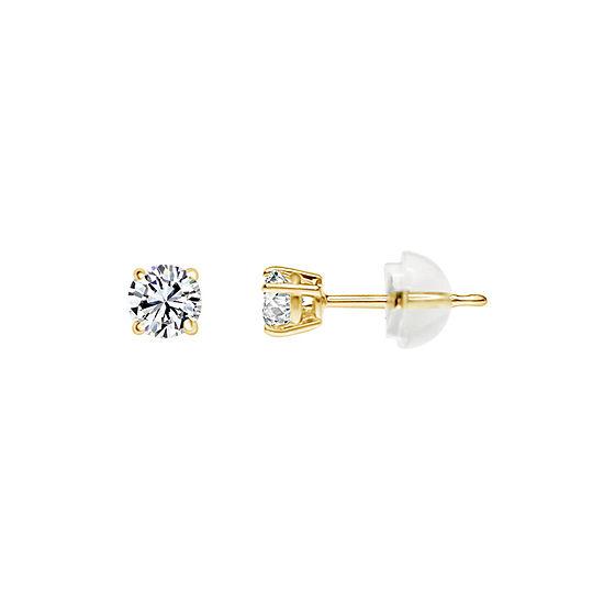 14K Gold 3.5mm Round Stud Earrings featured Swarovski Zirconia