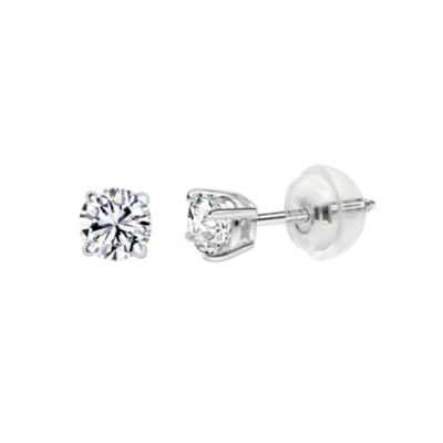 14K White Gold 4.5mm Round Stud Earrings featured Swarovski Zirconia