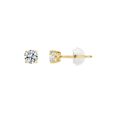 14K Gold 4.5mm Round Stud Earrings featuring Swarovski Zirconia