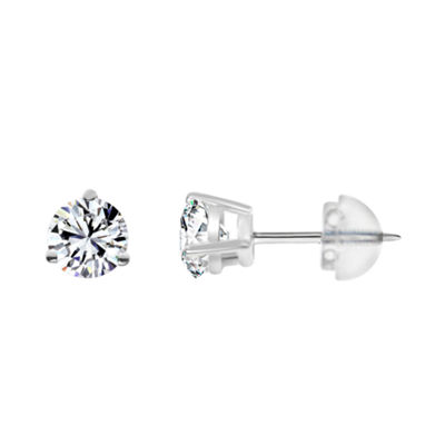 14K White Gold 3.1mm Round Stud Earrings featuring Swarovski Zirconia