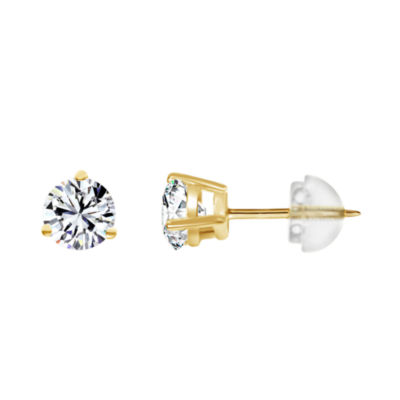14K Gold 3.1mm Round Stud Earrings featuring Swarovski Zirconia