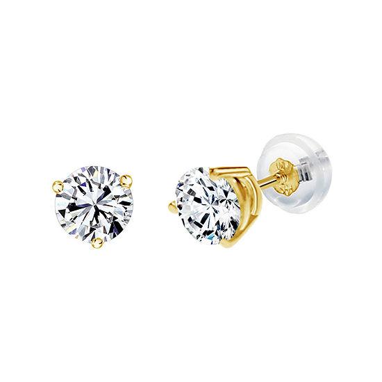 14K Gold 6.1mm Round Stud Earrings featuring Swarovski Zirconia