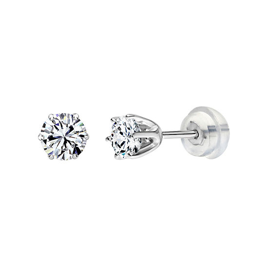 14K Gold 3mm Round Stud Earrings featuring Swarovski Zirconia