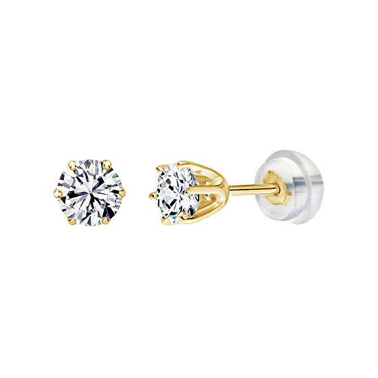 White Zirconia 14K Gold 3mm Round Stud Earrings