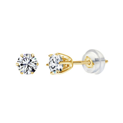 Swarovski White Zirconia 14K Gold 3mm Round Stud Earrings