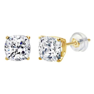 Swarovski White Zirconia 10K Gold 6mm Square Stud Earrings