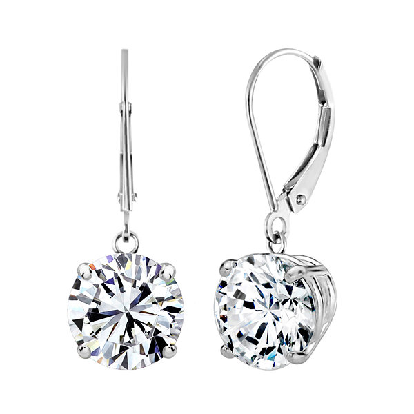Swarovski White Zirconia 14K Gold Drop Earrings