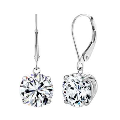 Swarovski White Zirconia 10K Gold Round Drop Earrings