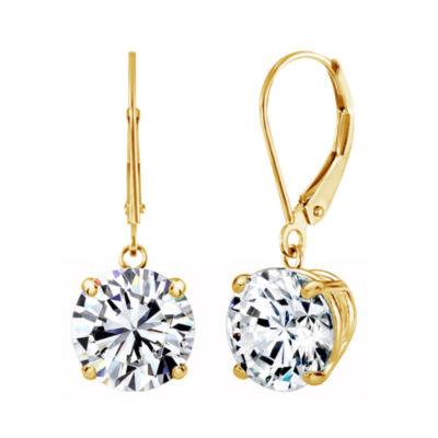 Swarovski White Zirconia 10K Gold Round Drop Earrings