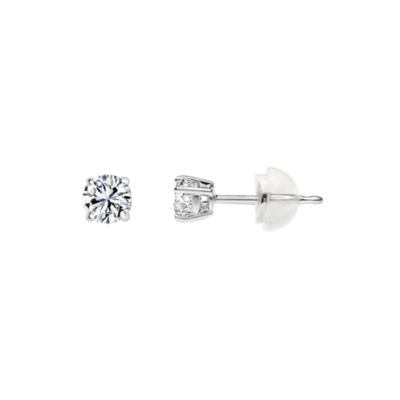 Swarovski White Zirconia 14K Gold 4mm Round Stud Earrings