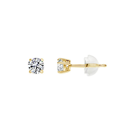 Swarovski White Zirconia 14K Gold 4mm Round Stud Earrings