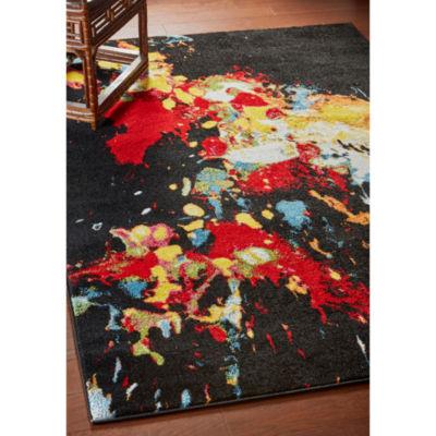 Fusion Modern Paint Splattered Rectangular Rug