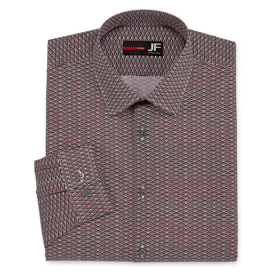 JF J.Ferrar Easy-Care Solid Big And  Tall Long Sleeve Broadcloth Pattern Dress Shirt