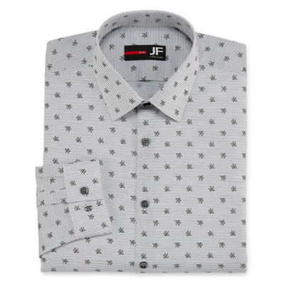 JF J.Ferrar Easy-Care Solid Big And  Tall Long Sleeve Broadcloth Stripe Dress Shirt