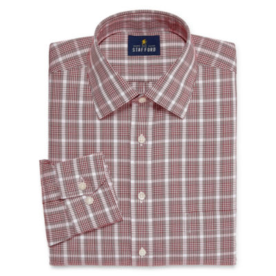 Stafford Executive Noniron Cotton Pinpoint Oxford Big and Tall Long Sleeve Plaid Dress Shirt