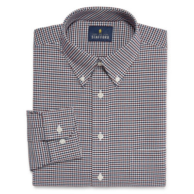 Stafford Travel Wrinkle Free Stretch Oxford Big And Tall Long Sleeve Oxford Plaid Dress Shirt