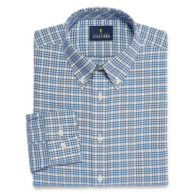 Stafford Travel Wrinkle Free Stretch Oxford Big And Tall Long Sleeve Oxford Checked Dress Shirt