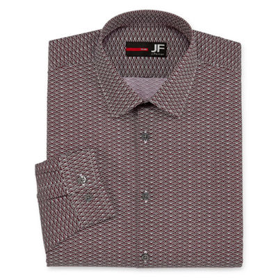 JF J.Ferrar Easy-Care Solid Long Sleeve Broadcloth Pattern Dress Shirt