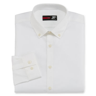 J.Ferrar Easy-Care Solid Long Sleeve Broadcloth Dress Shirt - Slim