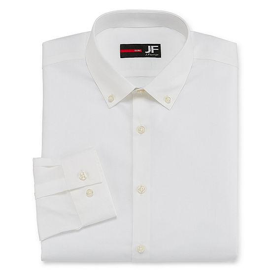 JF J.Ferrar - Slim Easy-Care Solid Mens Button Down Collar Long Sleeve Stretch Dress Shirt