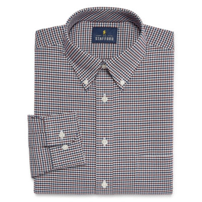 Stafford Travel Stretch Wrinkle Free Oxford Long Sleeve Oxford Plaid Dress Shirt