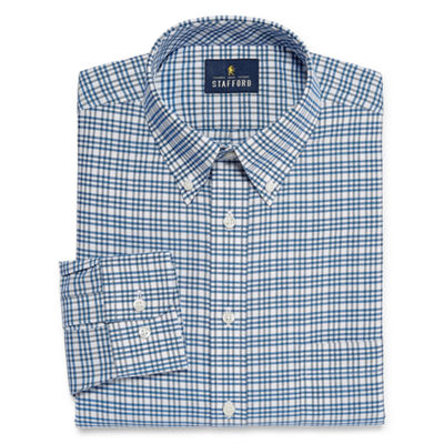 Stafford Travel Stretch Wrinkle Free Oxford Long Sleeve Oxford Checked Dress Shirt