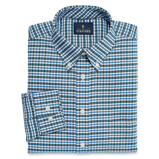 Stafford Travel Stretch Wrinkle Free Oxford Long Sleeve Dress Shirt