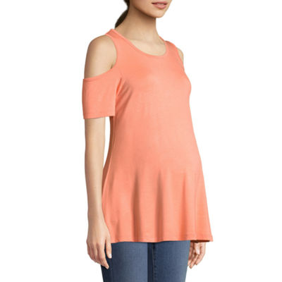 Planet Motherhood Cold Shoulder Scoop Neck Tee - Maternity