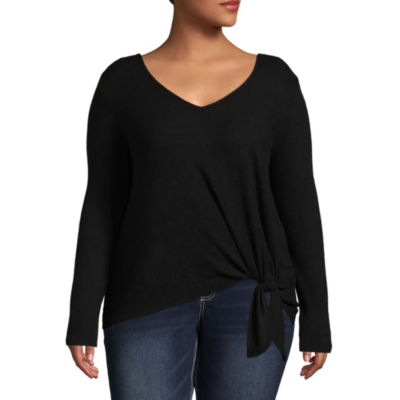 by&by Long Sleeve V Neck Knit Blouse-Juniors Plus