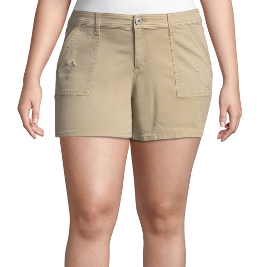 "Arizona 4 1/2"" Utility Midi Shorts-Juniors Plus"