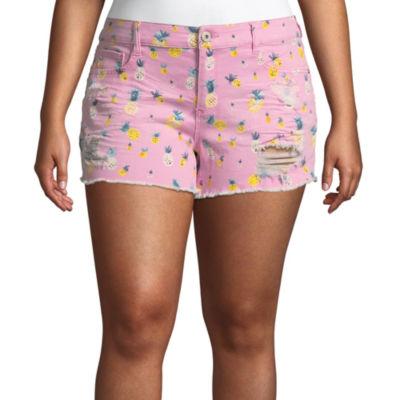 "Arizona 2 1/2"" Pineapple Shorts-Juniors Plus"