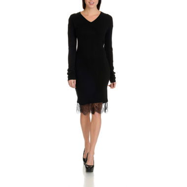 Harve Benard Lace Trim Sweater Dress