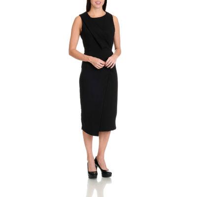 Harve Benard Pleat Front Shift Sleeveless Dress