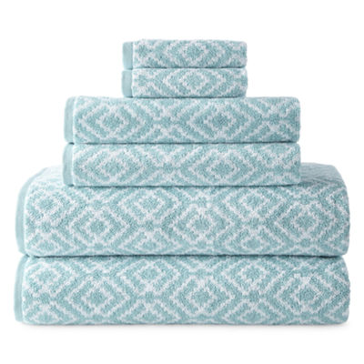 JCPenney Home Phoenix Yarn Dyed 6pc Towel Set 6-pc. Bath Towel Set