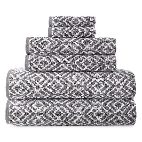 JCPenney Home Phoenix Yarn Dyed Bath Towels