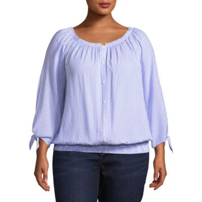 Alyx 3/4 Sleeve Stripe Peasant Top - Plus