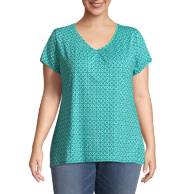 St. John's Bay® Short Sleeve Printed Tee with Shirring - Plus