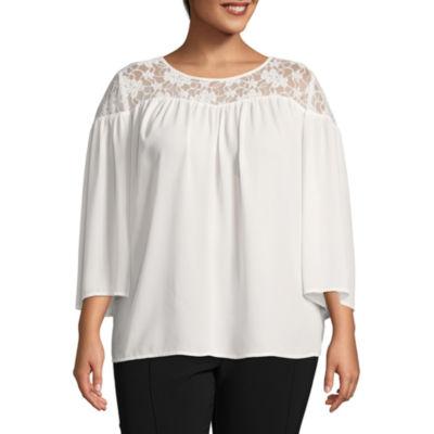 Worthington 3/4 Sleeve Lace Woven Blouse - Plus