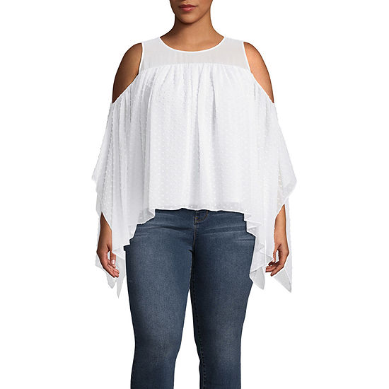 Bold Elements Asymmetric Cold Shoulder Blouse - Plus