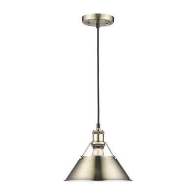 "Orwell 1-Light Pendant 10"" in Aged Brass"""