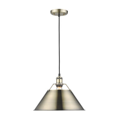 "Orwell 1-Light Pendant 14"" in Aged Brass"""