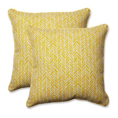 Pillow Perfect Herringbone Square Outdoor Pillow -Set of 2