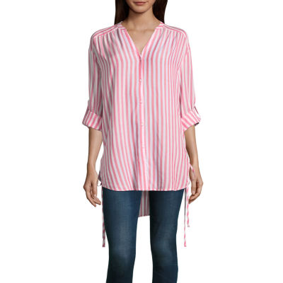 A.N.ARoll-TabSleeve Side Lace Up Shirt - Tall