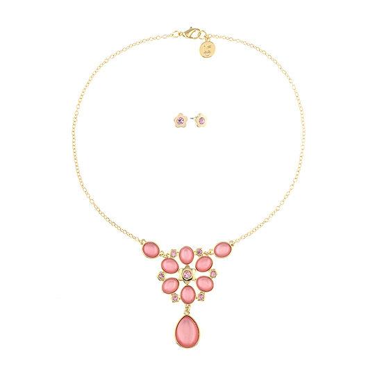 Liz Claiborne Pink Gold Tone Flower 2-pc. Jewelry Set