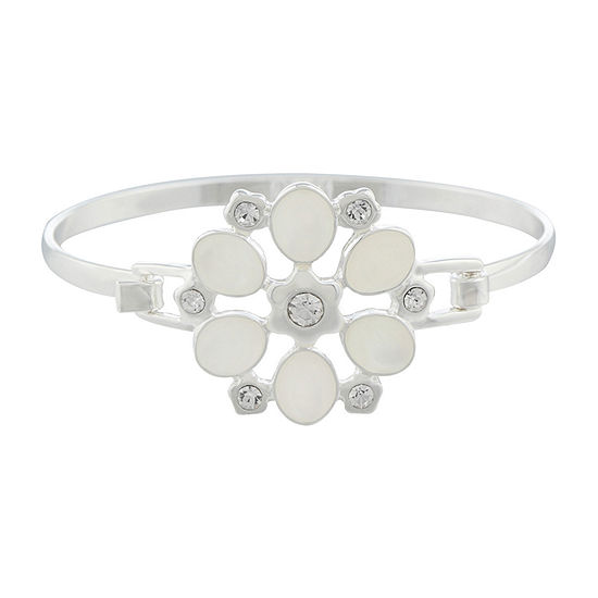 Liz Claiborne White Silver Tone Flower Bangle Bracelet