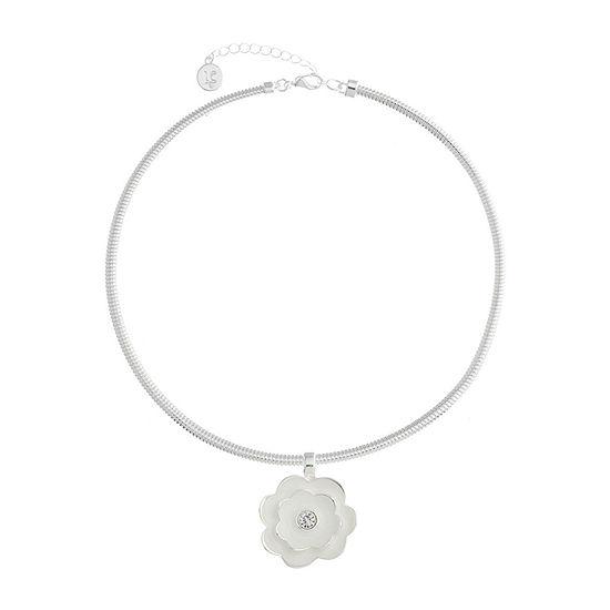 Liz Claiborne Womens Flower Pendant Necklace