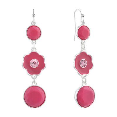 Liz Claiborne Pink Flower Drop Earrings